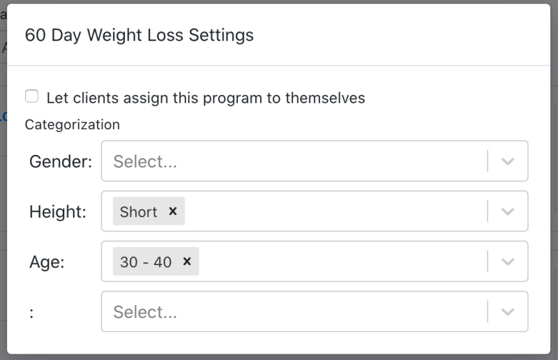 Manage the categories assigned to on demand fitness programs
