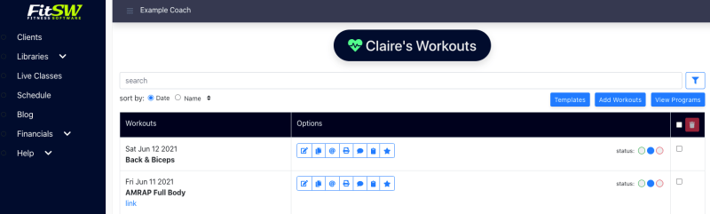 Workout List in New Events List UI on Web