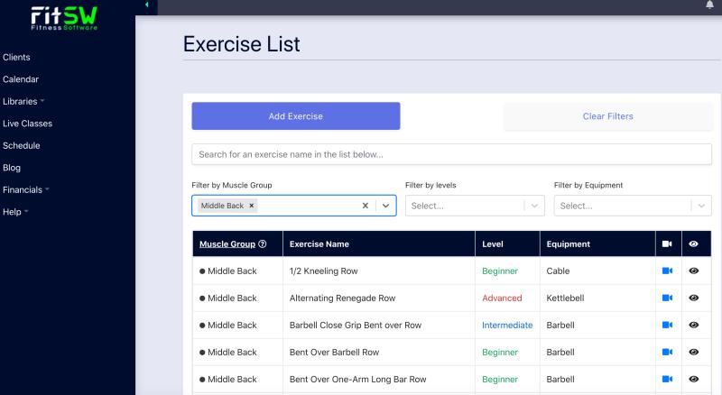 Exercise List in FitSW