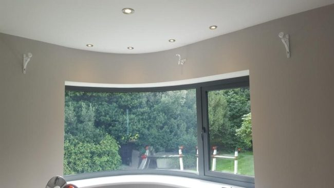 Curved Wood Pole and Curtain Fitted in Oxfordshire