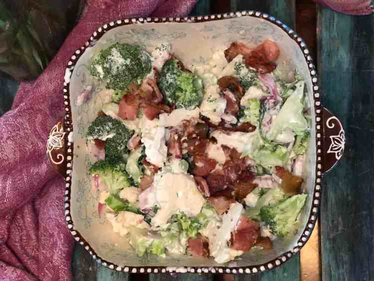 low carb keto broccoli cauliflower salad