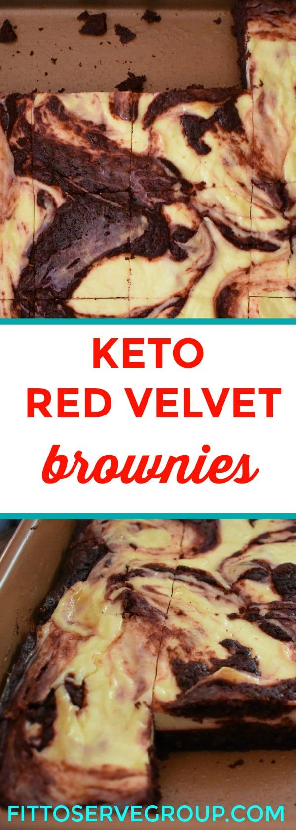 Keto red velvet cheesecake swirl brownies featuring the flavors of red velvet and cheesecake wrapped up in a low carb keto brownie