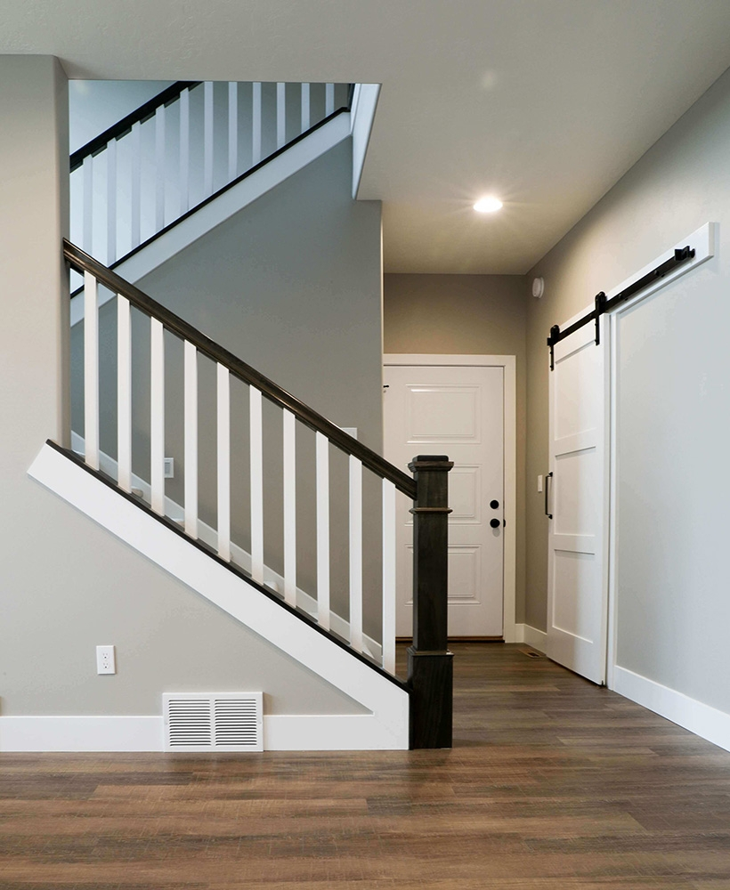 Style Upgrade Fitts Industries Inc Manufacturers Of Quality   Mission Style Newel Post   Craftsman Style   Maple   Stained Handrail   Stair Banister   Raised Panel