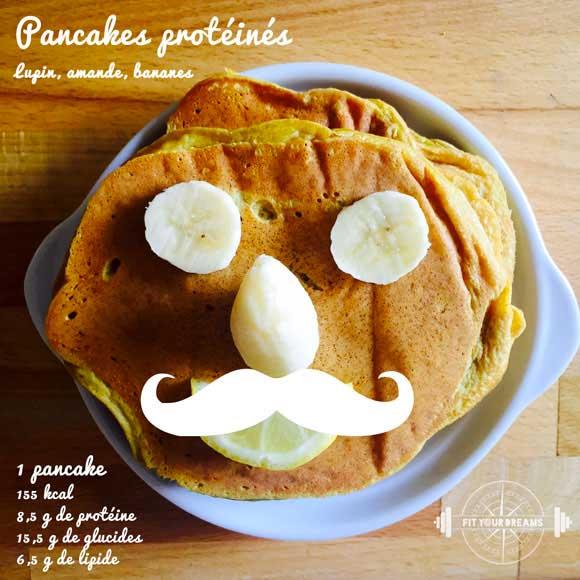 Pancakes protéinés : lupin, amande, banane