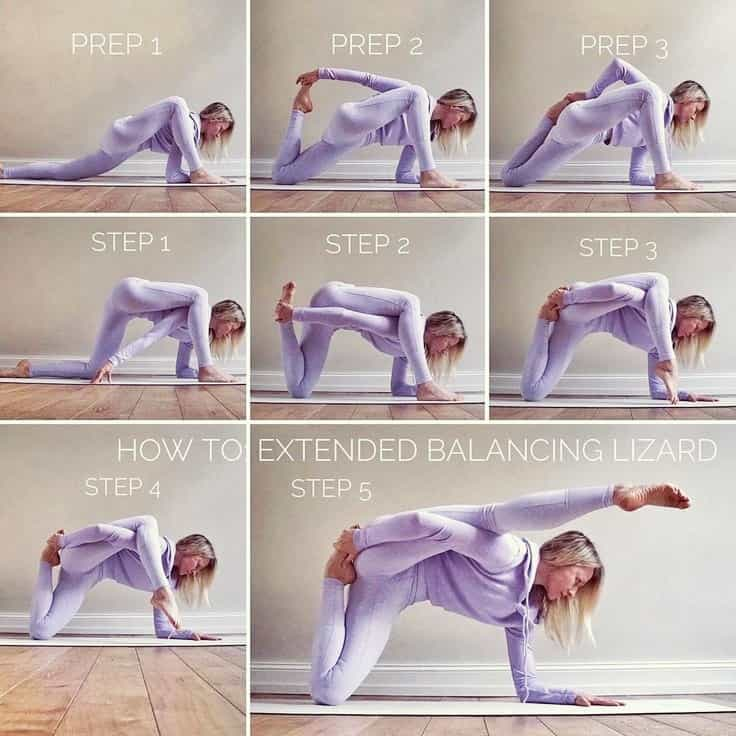 Extended Balancing lizard Pose: Step by Step Instructions - FITZABOUT