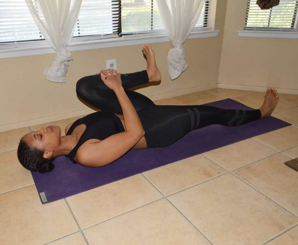 Single Leg Knees to chest pose (Bend the knees) - Fitzabout