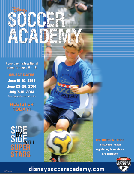 Disney Soccer Academy discount code summer camp fitzness $75 off