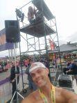 CJ Post-Encinitas Half Marathon with Fitz on her Announcer Stage