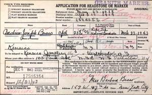 Cpl. Basso Gravestone Application Card