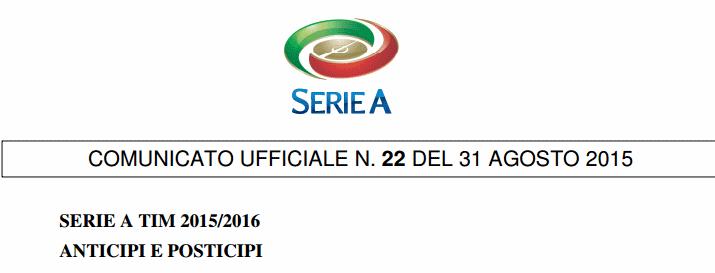 Anticipi e posticipi Serie A TIM 2015-2016