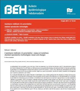 Bulletin Epidémiologique Hebdomadaire de l'Institut de Veille Sanitaire n°23-14 sur l'AMP du 14 juin 2011