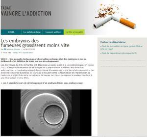 Les embryons des fumeuses grossissent moins vite