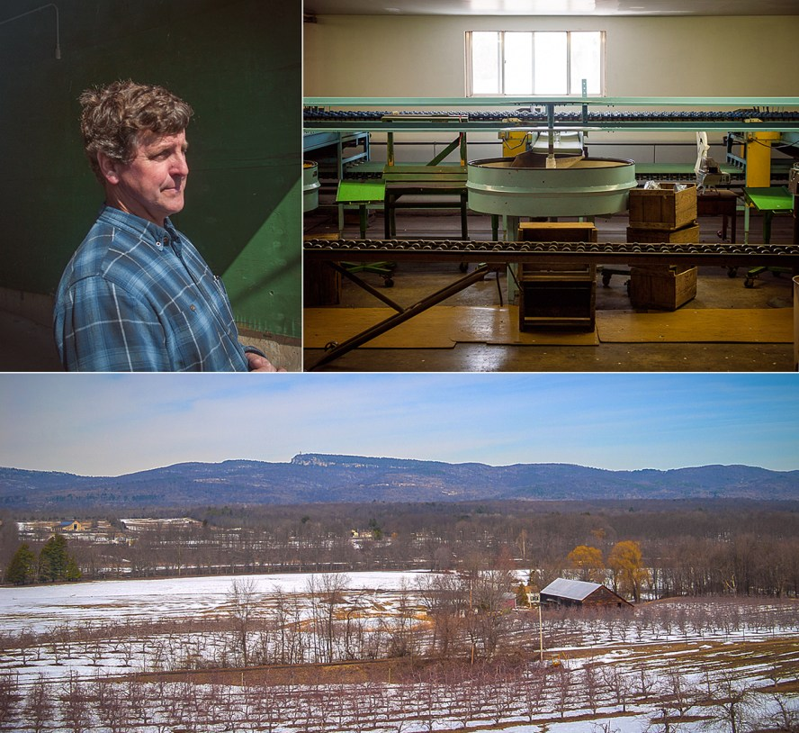 "Clockwise from top left: Rod Dressel Jr.. The sorting line on a rare day off. A winter's view of the ""Gunks""."
