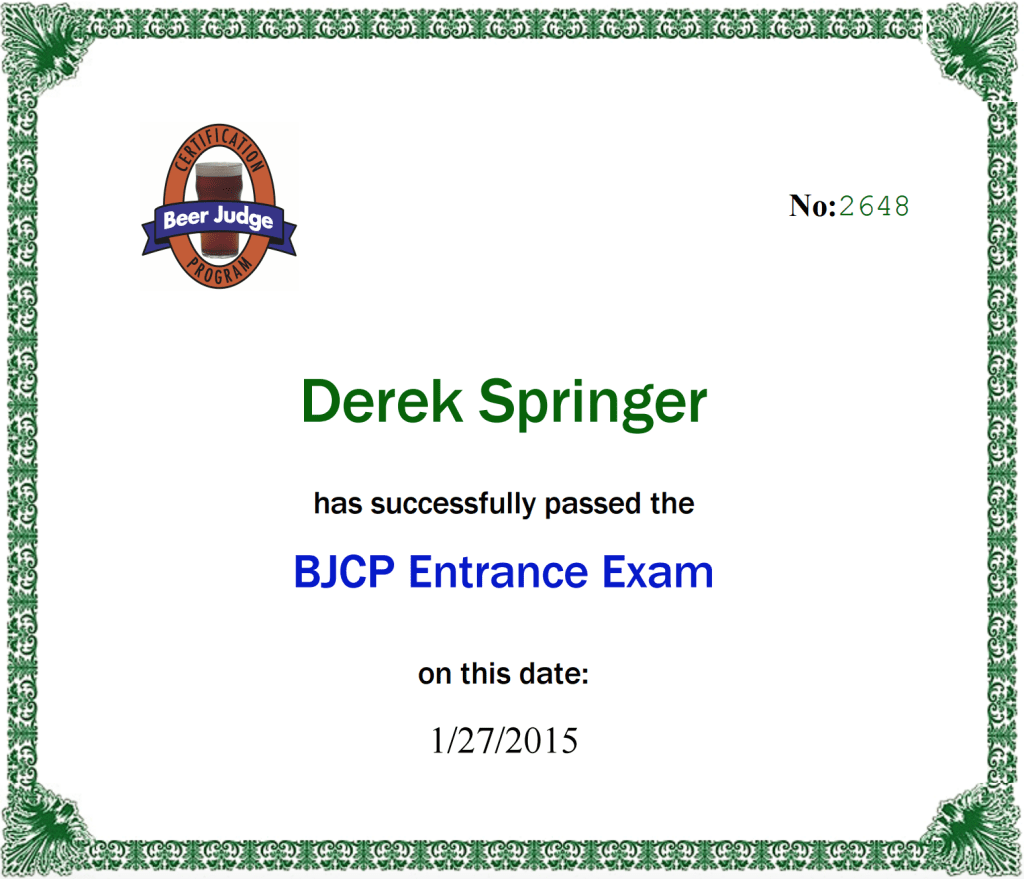 BJCP Entrance Exam Certificate