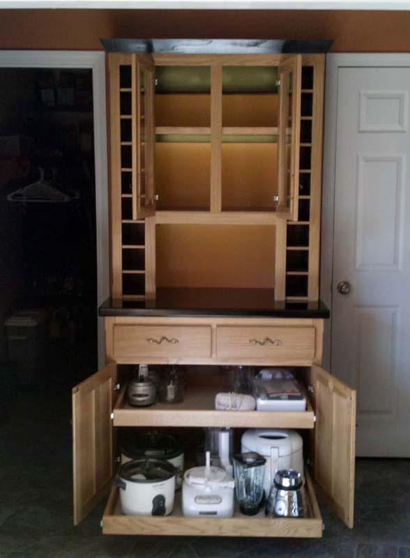 Fivebraids Custom Woodworking LiquorWine Hutch