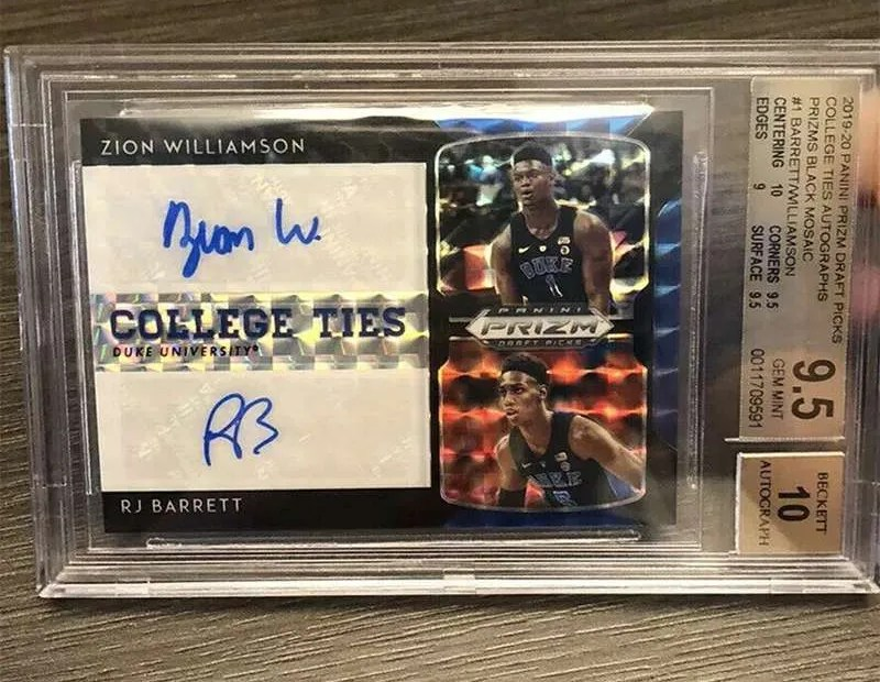 Zion Williamson and RJ Barrett dual autograph card