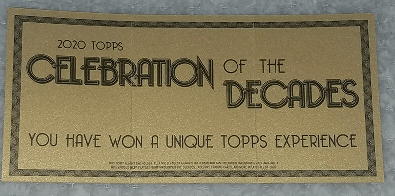 2020 Topps Celebration of the Decades golden ticket