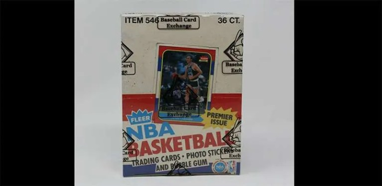1986 Fleer Basketball wrapped wax box