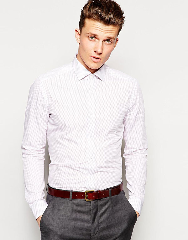 dc0b727819 Reiss Bluff Collar Shirt With Geo Print In Slim Fit - Five College Farms