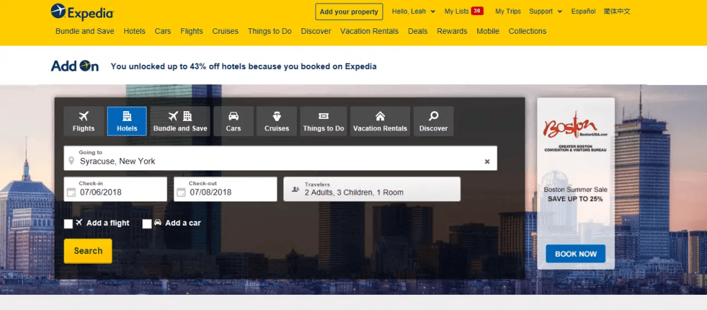 add on advantage expedia home page