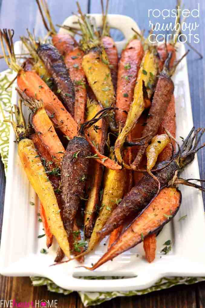 Roasted Rainbow Carrots with Thyme • FIVEheartHOME