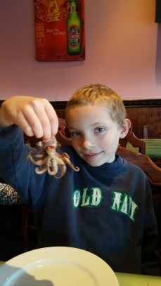 Trying an octopus at the chinese buffet