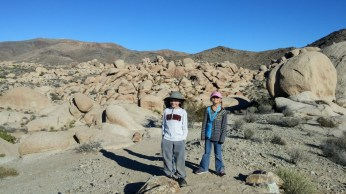 Hiking through a field of granite boulders