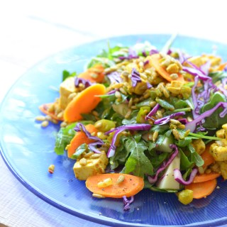 Curried Tofu and Arugula Salad with Summer Veggies