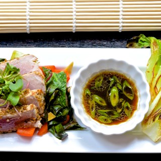 Seared Tuna with Sesame, Bok Choy and Vegetable Stir Fry