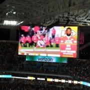 Former Dolphins Damien Williams scores the clinching touchdown for the Chiefs in Super Bowl 54. (Craig Davis for Five Reasons Sports)