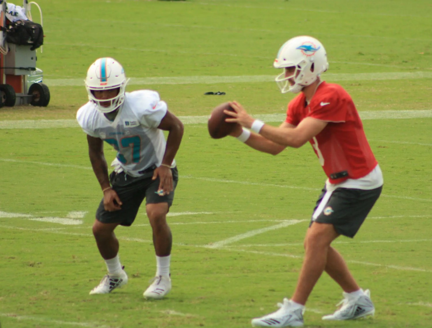 Josh Rosen has shown improvement since a rocky start to training camp with the Dolphins. (Craig Davis/Five Reasons Sports)