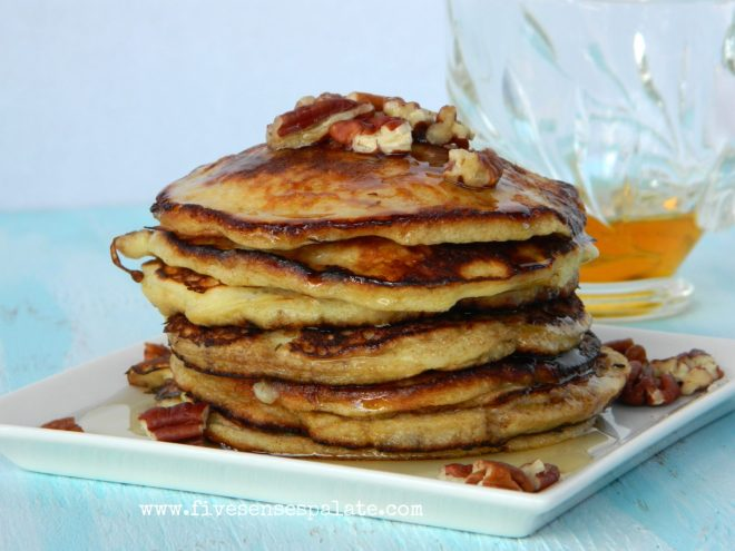 Banana Pancakes with Pecans & Maple Syrup Recipe | Five Senses Palate