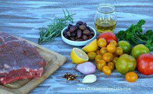 Flank steak with tomato tapenade recipe | Five Senses Palate