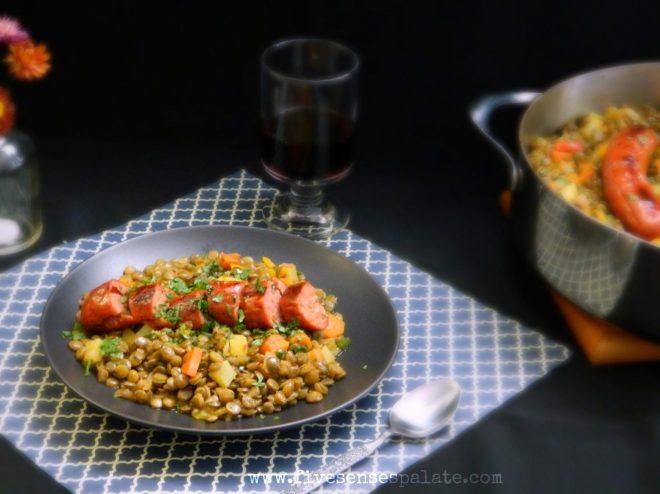 Lentils & Spanish Chorizo Recipe | Five Senses Palate