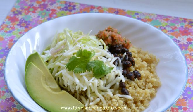 Quinoa Bowl with Black Beans & Salsa Recipe   Five Senses Palate