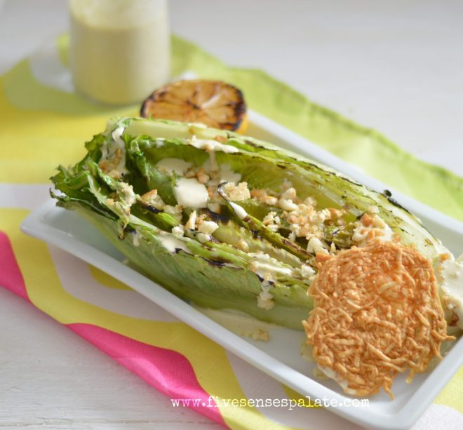 Grilled Lettuce with Caesar Dressing & Parmesan Cracker Recipe