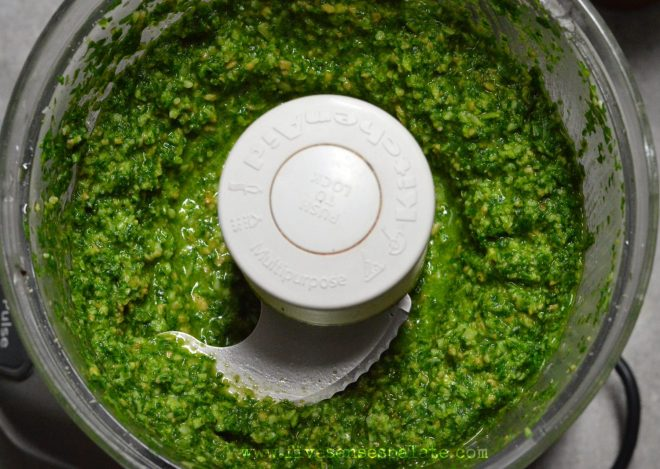 Mizuna Pesto Recipe | Five Senses Palate