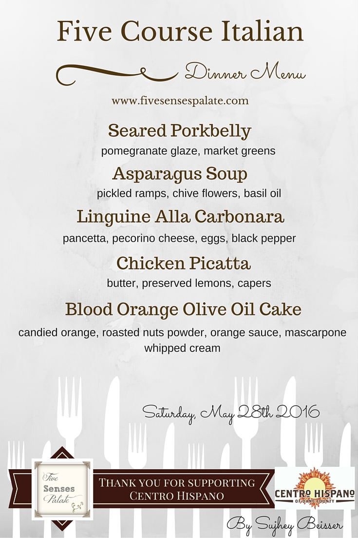Five course dinner menu raising funds for centro hispano for 5 course meal ideas