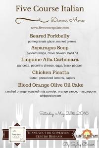 Five Course Dinner Menu | Five Senses Palate