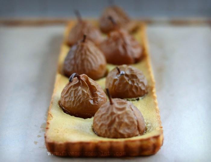 Seckel Pear & Almond Custard Tart Recipe | Five Senses Palate