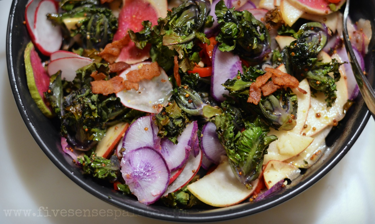 Roasted Kalettes Salad with Warm Bacon Dressing Recipe   Five Senses Palate