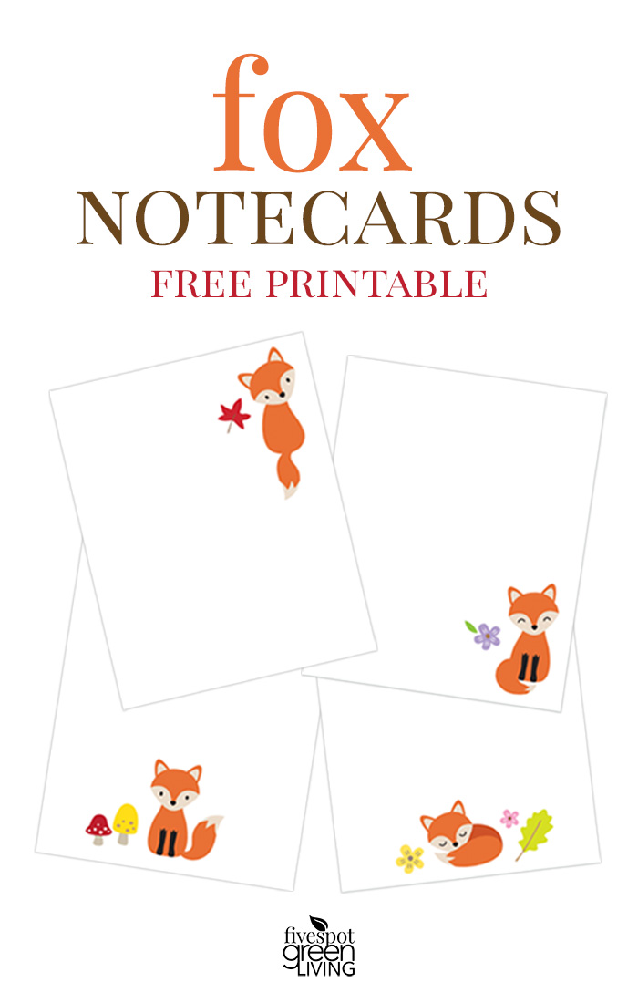 Free Printable Fox Note Cards Stationery Five Spot Green