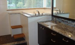 brown granite slab bathroom seattle kirkland