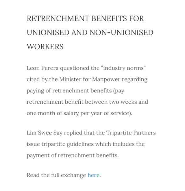 Workers party retrenchment Parliament Question 2016