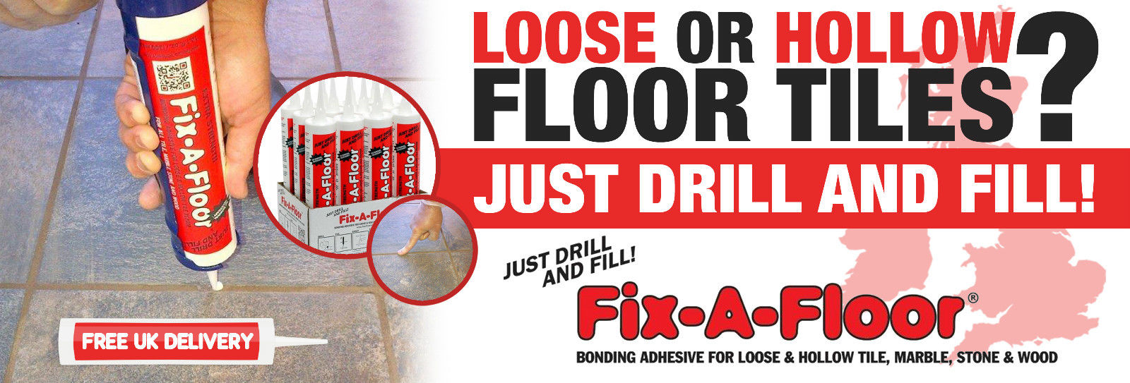 6 x fix a floor extra strength bonding adhesive for loose and hollow tile repair 10 fl oz 300ml tube
