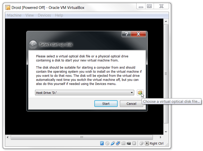 VirtualBox choose your Virtual Optical Drive