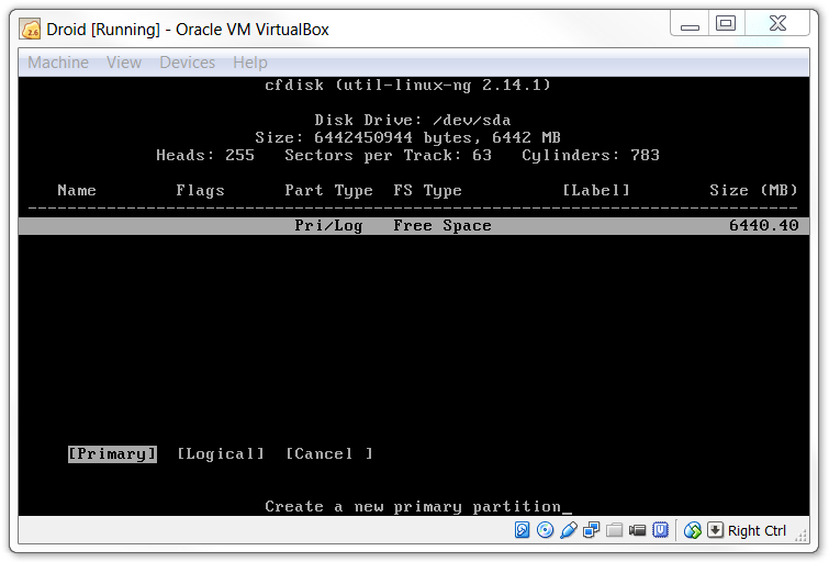 KitKat Virtualbox Primary Partition
