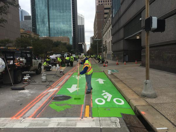 Bandes cyclables à Houston