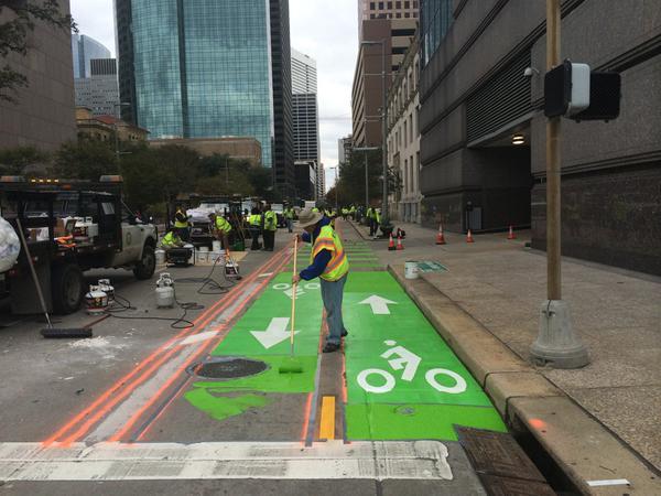 Bandes cyclables à Houston