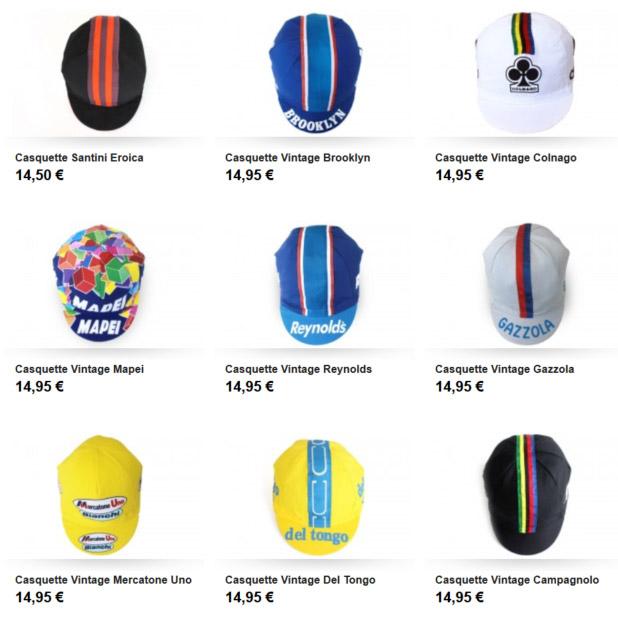 Exemples des casquettes disponibles chez Santa Fixie